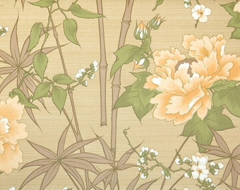 Retro Wallpaper by the Yard 70s Vintage Wallpaper - 1970s Bamboo and Tropical Flowers