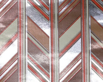 Retro Wallpaper by the Yard 70s Vintage Mylar Wallpaper – 1970s Brown Gray White and Red Chevron Geometric Mylar