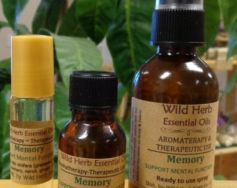 MEMORY Therapeutic & Aromatherapy ESSENTIAL OIL Blend ~ Spray, Roll On or Full Strength! Exclusively by Wild Herb