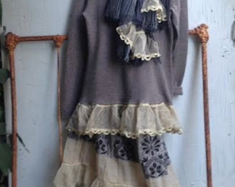 CUSTOM example ensemble shabby tan black brown cashmere rustic boho party wedding barn wedding princess eco gypsy skirt sweater scarf
