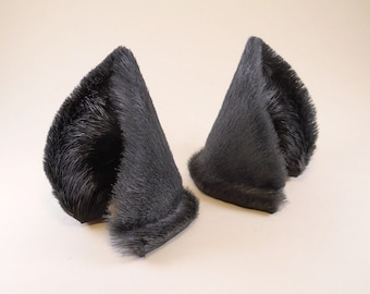 Steel Gray Grey Fur Leather Wolf Dog Fox Ears Inumimi Kitsune Fairy Cosplay Furry Goth Fantasy LARP Costume Pet Play