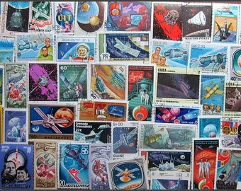 Space Travel Astronauts Postage Stamps Ideal For Card Making Scrapbooking Decoupage Crafts Collecting