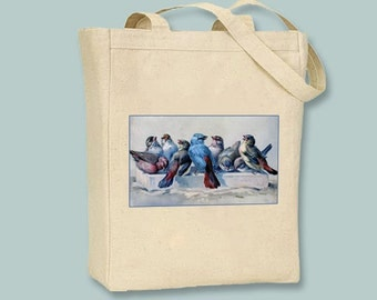 Flock of Vintage Bluebirds on Black or Natural Canvas Tote  - selection of sizes available