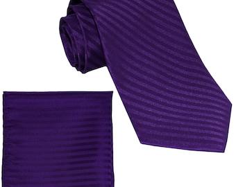 Men's Vertical Striped Purple Regular Necktie and Handkerchief, for Formal Occasions (625)