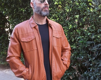 Men's Zippered Front Rust/Burnt Orange Outerwear Leather Look Jacket / In-Between Seasons Windbreaker Jacket, Vintage - XLarge