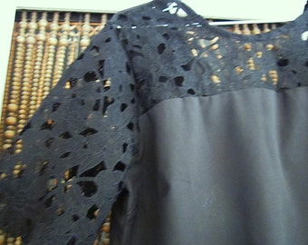 Unique Black Blouse Appliquéd with Floral Black Lace Sleeves and Upper Front, Vintage - Large to XLarge