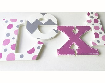 Chevron Magenta & Grey Wooden Wall Name Letters / Hangings, Hand Painted for Girls Rooms, Play Rooms and Nursery Rooms