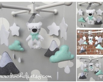 Baby Crib Mobile-Polar Bear Mobile-Artic/Antartic mountain Crib Mobile-Polar bear artic mobile mint and grey