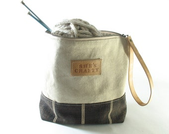 She's Crafty Linen Wristlet, Tool Bag, Knitting Project Bag, Made to Order