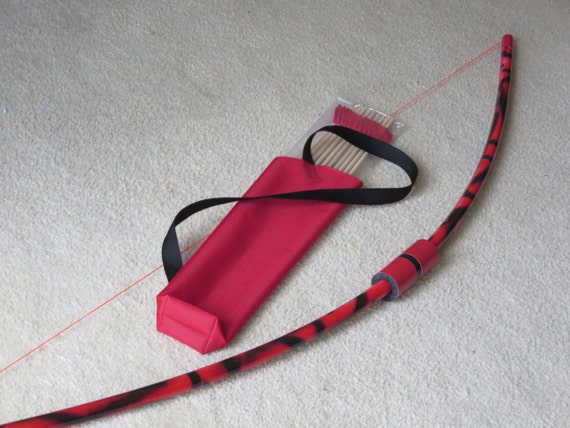 Longbow red black set 10 arrows in quiver bag play safe pvc for Kids pvc bow