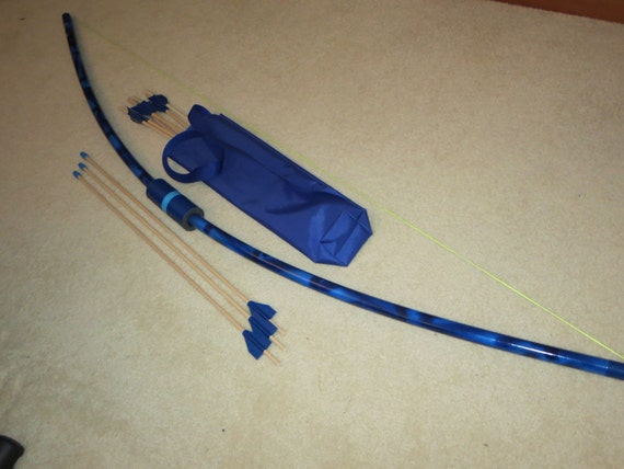 Blue longbow toy 10 long arrows quiver bag safe play pvc for Kids pvc bow