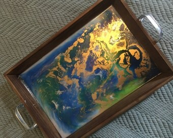 Unique resin art serving tray - cobalt blue, lime green, white with beautiful gold accents.  One of a kind and signed by the artist!