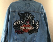 Harley Davidson motorcycle vintage T-shirt patch on the back of denim trucker jacket
