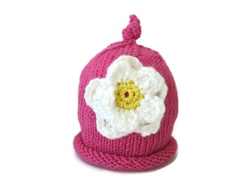 Handknit Baby Hat - baby girl hat - knit newborn hat - baby shower gift - baby girl accessories  - baby girl clothing - knit baby beanie cap