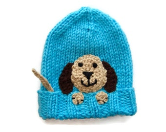 babys knit hat - puppy dog hat - knit animal hat - knit baby hat -  knitted kid's cap - crochet child's beanie - dog lover hat