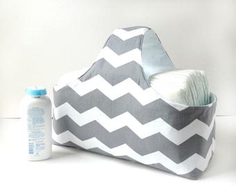 Fabric Storage Basket - Diaper Caddy -  Gray Diaper Storage - Chevron Diaper Caddy - Nursery Decor - Gray Chevron Fabric Basket