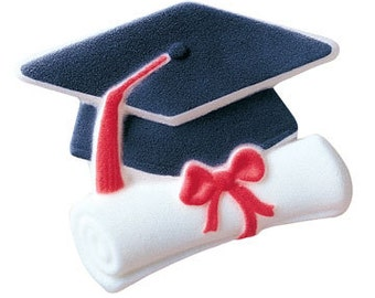 Graduate Cap And Scroll Sugar Decorations Toppers Cupcake Cake Cookies Graduation Favors Party 12 Count