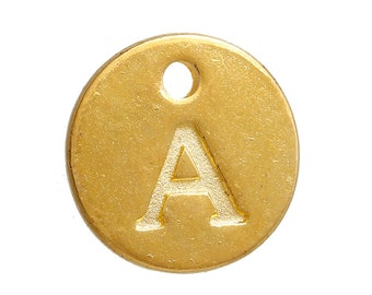 "10 Letter A Alphabet Charms Gold Plated Monogram, double sided round disc letter charms, dot charms, 12mm, (1/2""), chg0458"