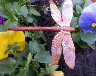 dragonfly ornament, dragonfly art, carved dragonfly, garden art, garden decor