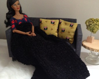Chunky knit black throw blanket with two owl pillows for sixth scale diorama or playscale doll house