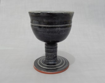 Wine Goblet - Black Pottery - Wheel Thrown and Hand Carved