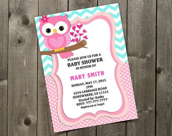 Girl Owl Baby Shower Invitation Template