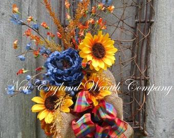 Autumn Wreath, Fall Floral Wreath, Thanksgiving Swag, Harvest Wreath, Fall Designer Wreath, Sunflower Swag