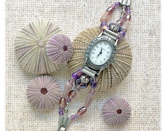 Womens Watch, Gemstone Jewelry, Ladies Watch, Bracelet Watch, Purple Jewelry, OOAK Watch, Purple Watch, Beaded Watch, Gemstone Watch