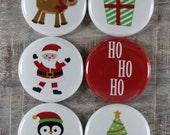 HoHoHo Santa Reindeer Tree Penguin Present Flair Buttons