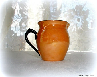 Small Vintage Czech Lusterware Pitcher Jug 1930's Bohemian Art Pottery Amber Gold and Black Luster Creamer