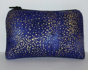 "Pipe Pouch, Pipe Case, Pipe Bag, Purple + Gold Spots, Padded Pipe Pouch, Glass Pipe Cozy, Padded Zipper Bag, 420 Bag, Coin Purse - 4"" MINI"