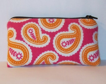 "Padded Pipe Pouch, Paisley Bag, Pink Orange Bag, Pipe Case, Glass Pipe Bag, Zipper Pouch, Small Pouch, Padded Pouch, Smoke Bag - 5.5"" SMALL"