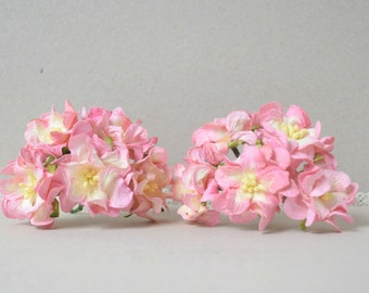 35  mm   / 10  Mixed Pink / Light Yellow   Paper  Flowers