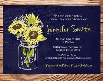 Navy Sunflowers Baby's Breath Bridal Shower Invitation, Baby's Breath Mason Jar, Sunflowers, Navy, Mason Jar, Sunflowers, 5326