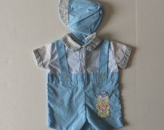 Vintage Teddy Bear Romper & Matching Hat