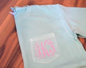 Comfort Colors Monogrammed Pocket TShirt