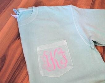 Comfort Colors Monogrammed Pocket TShirt