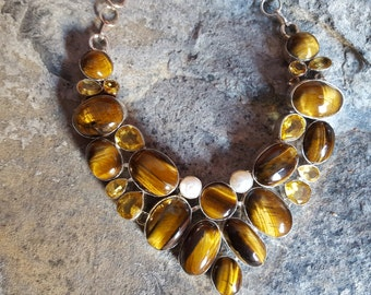 Sterling silver brown Tiger's eye , river pearl, cetrine necklace
