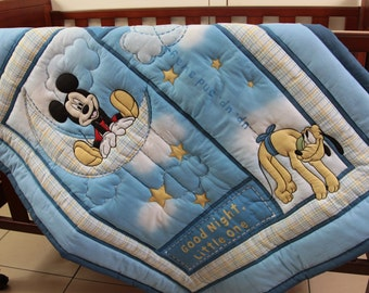 Good Night Mickey Mouse Quilt & Pillow Case