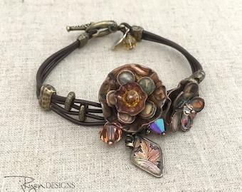 Boho Leather Bracelet Girlfriend Gift Bracelet - Bohemian Leather Bracelet - Unique Handmade Flower Bracelet - Flower Jewelry Gift for Wife