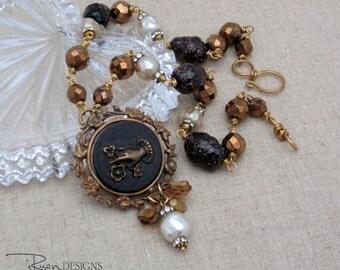 Vintage Assemblage Necklace - One of a Kind Necklace - Repurposed Buckle Necklace - Pearl Necklace