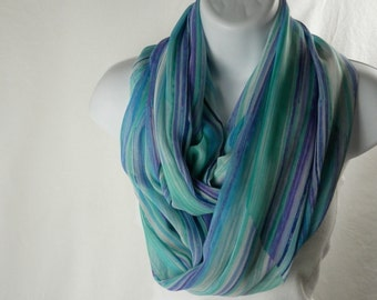 Summer Chiffon Infinity Scarf Blue, Purple, Navy, Aqua, Green Striped Scarf for Women by Thimbledoodle