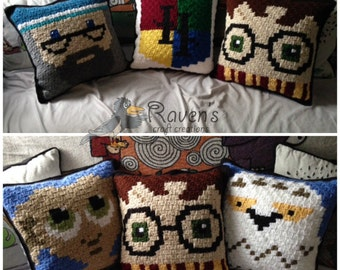 Wizarding World Character pillows - MADE to ORDER - Harry Potter inspired character pillows, handmade crochet
