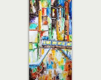 Original Colorful Chicago Train Skyline, Oil Painting, Abstract Modern Skyline, Fine Art, Home Decor