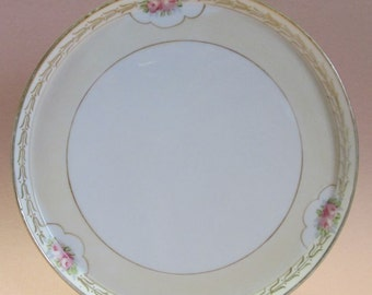 CLEARANCE - Round Porcelain Vanity, Dresser Tray, Hand Painted Nippon, Trinket Dish, Roses, Gold Trim