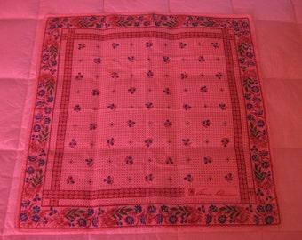 Vintage Handkerchief, Floral Handkerchief, Anne Klein, Floral Bandana, Prairie Style, Calico Fabric, Vintage Bandana