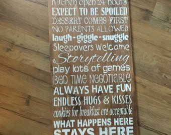 Grandparents house rules stained rustic sign shower gift birth announcement