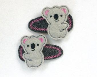 Koala Bear hair clips, Koala Bear barrettes, Koala Bears Snap clips, Koala hair accessories, Koala Bear Girls hair