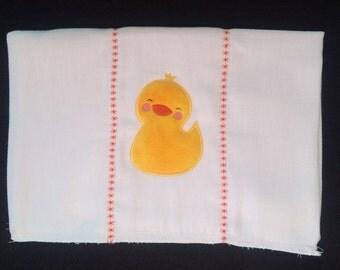 Duck burpcloth, Duck diaper, Duck appliqué, Unisex duck burpcloth, Fleece duck burpcloth, Duck baby shower