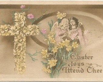 Easter Joys Cross, Daffodils, Angels, Vintage Postcard Easter Greeting